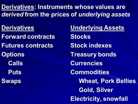 Derivatives: Instruments whose values are derived from the prices of underlying assets DerivativesUnderlying Assets Forward contractsStocks Futures contractsStock.