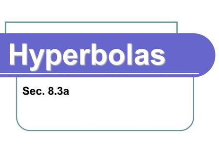 Hyperbolas Sec. 8.3a. Definition: Hyperbola A hyperbola is the set of all points in a plane whose distances from two fixed points in the plane have a.