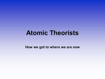 Atomic Theorists How we got to where we are now. Law of Conservation of Mass Matter can't be created or destroyed Who: Antoine Lavoisier When: 1785 Where: