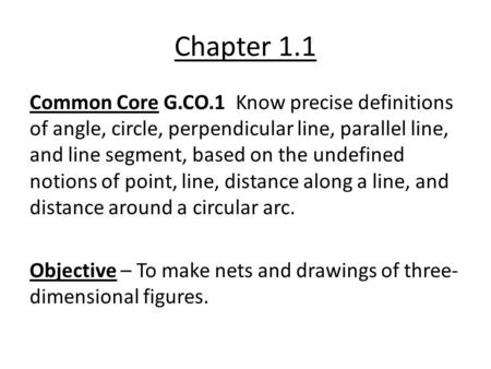 Chapter 1.1 Common Core G.CO.1 Know precise definitions of angle, circle, perpendicular line, parallel line, and line segment, based on the undefined notions.