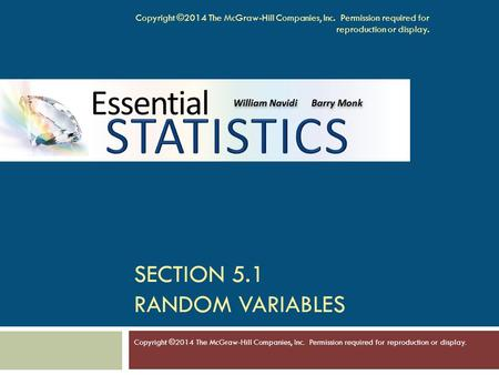Section 5.1 Random Variables