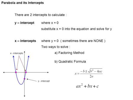 Parabola and its Intercepts There are 2 intercepts to calculate : y – interceptwhere x = 0 substitute x = 0 into the equation and solve for y x – interceptswhere.