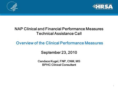 NAP Clinical and Financial Performance Measures Technical Assistance Call Overview of the Clinical Performance Measures September 23, 2010 Candace Kugel,