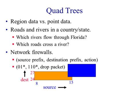 Quad Trees Region data vs. point data. Roads and rivers in a country/state.  Which rivers flow through Florida?  Which roads cross a river? Network firewalls.