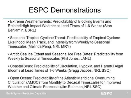 Earth System Prediction Capability ESPC ESPC Demonstrations 1 Extreme Weather Events: Predictability of Blocking Events and Related High Impact Weather.