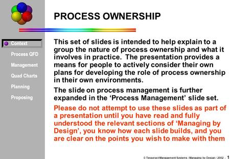 Context Process QFD Management Quad Charts Planning Proposing © Tesseract Management Systems / Managing by Design / 2002 - 1 PROCESS OWNERSHIP This set.
