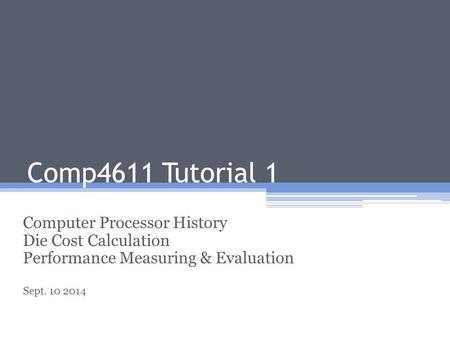 Comp4611 Tutorial 1 Computer Processor History Die Cost Calculation
