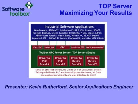 TOP Server Maximizing Your Results Presenter: Kevin Rutherford, Senior Applications Engineer.