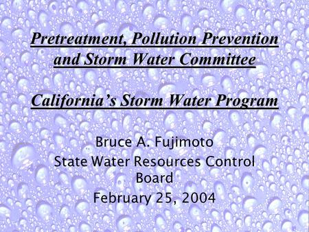 Pretreatment, Pollution Prevention and Storm Water Committee California's Storm Water Program Bruce A. Fujimoto State Water Resources Control Board February.