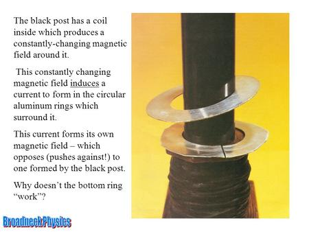 The black post has a coil inside which produces a constantly-changing magnetic field around it. This constantly changing magnetic field induces a current.