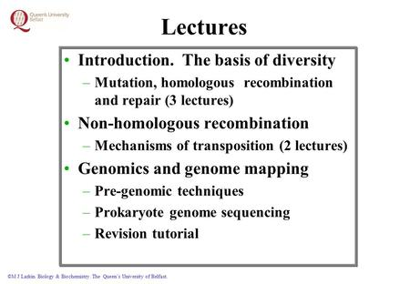 ©M J Larkin Biology & Biochemistry. The Queen's University of Belfast. Lectures Introduction. The basis of diversity –Mutation, homologous recombination.