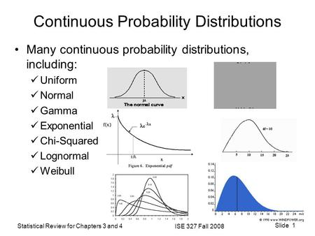 Statistical Review for Chapters 3 and 4 ISE 327 Fall 2008 Slide 1 Continuous Probability Distributions Many continuous probability distributions, including:
