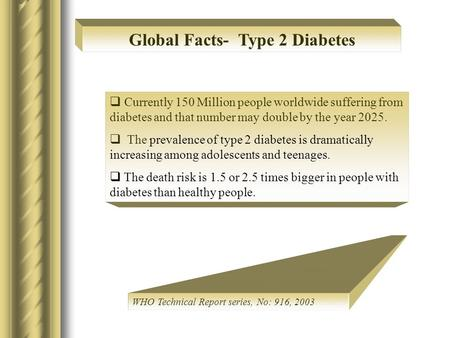  Currently 150 Million people worldwide suffering from diabetes and that number may double by the year 2025.  The prevalence of type 2 diabetes is dramatically.