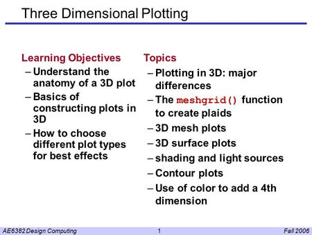 Fall 2006AE6382 Design Computing1 Three Dimensional Plotting Learning Objectives –Understand the anatomy of a 3D plot –Basics of constructing plots in.