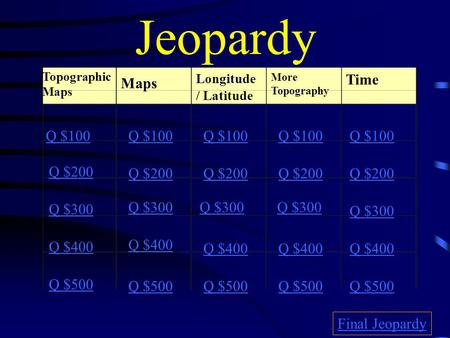 Jeopardy Time Maps Q $100 Q $100 Q $100 Q $100 Q $100 Q $200 Q $200