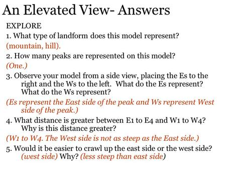 An Elevated View- Answers