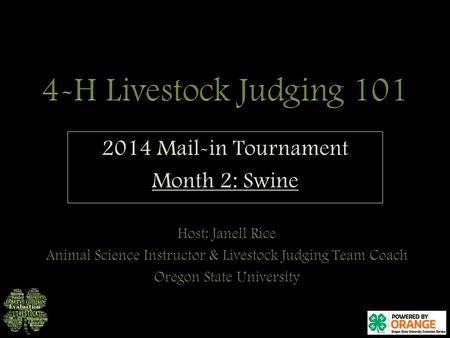 2014 Mail-in Tournament Month 2: Swine.  Make sure you have a pencil and judging card ready o Don't forget to include your full name!  You may take.