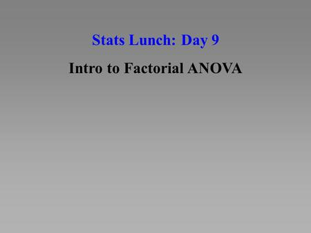 Intro to Factorial ANOVA