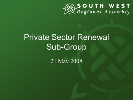 Private Sector Renewal Sub-Group 21 May 2008. Draft Project Plan.