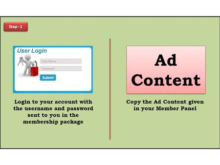 Step - 1 Login to your account with the username and password sent to you in the membership package Ad Content Copy the Ad Content given in your Member.