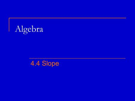 Algebra 4.4 Slope. Finding Slope m = slope = rise run = change in y change in x y 2 – y 1 = x 2 – x 1 x y.. (x 1, y 1 ) (x 2, y 2 ) The order the arcs.