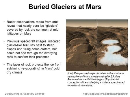 Discoveries in Planetary Sciencehttp://dps.aas.org/education/dpsdisc/ Buried Glaciers at Mars Radar observations made from orbit reveal that nearly pure.