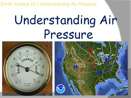 Earth Science 19.1 Understanding Air Pressure Understanding Air Pressure.