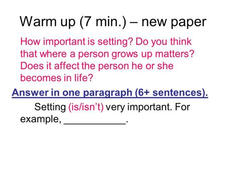 Warm up (7 min.) – new paper