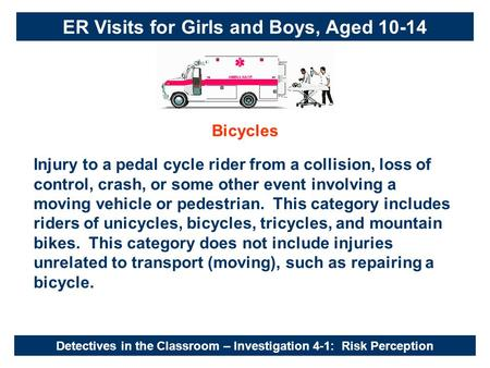 Detectives in the Classroom – Investigation 4-1: Risk Perception Bicycles Injury to a pedal cycle rider from a collision, loss of control, crash, or some.