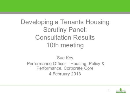 1 Developing a Tenants Housing Scrutiny Panel: Consultation Results 10th meeting Sue Key Performance Officer – Housing, Policy & Performance, Corporate.