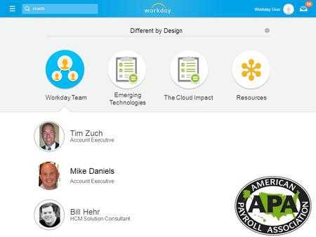 Workday TeamResources Tim Zuch Account Executive Mike Daniels Account Executive Bill Hehr HCM Solution Consultant Emerging Technologies The Cloud Impact.