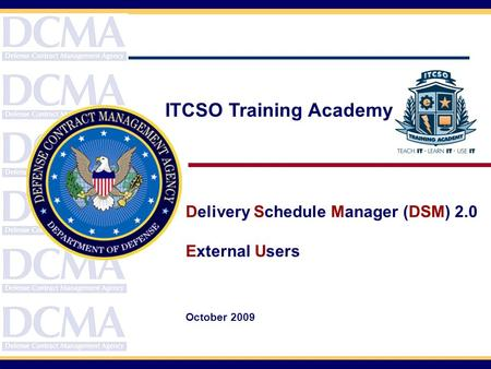 Course Topics Delivery Schedule Manager (DSM) 2.0 External Users October 2009 ITCSO Training Academy.