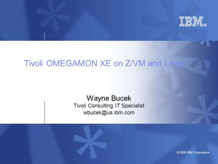 © 2008 IBM Corporation Tivoli OMEGAMON XE on Z/VM and Linux Wayne Bucek Tivoli Consulting IT Specialist