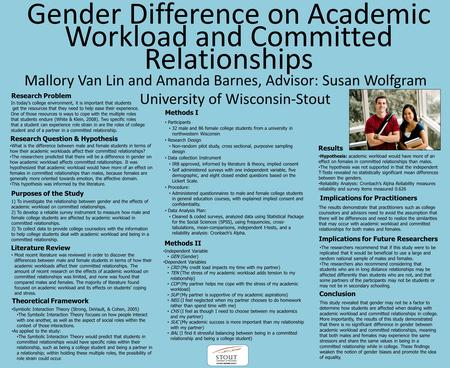 Gender Difference on Academic Workload and Committed Relationships Mallory Van Lin and Amanda Barnes, Advisor: Susan Wolfgram Research Problem In today's.