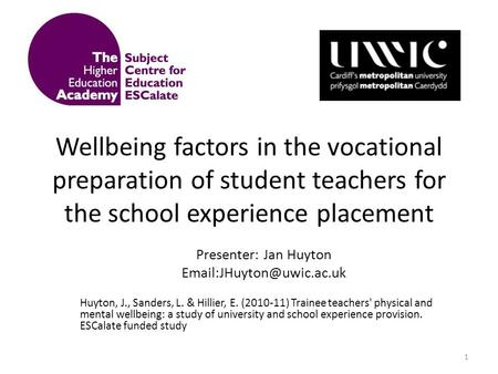 Wellbeing factors in the vocational preparation of student teachers for the school experience placement Presenter: Jan Huyton