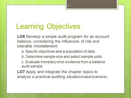 Learning Objectives LO6 Develop a simple audit program for an account balance, considering the influences of risk and tolerable misstatement. a. Specify.