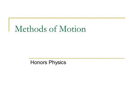 Methods of Motion Honors Physics. YOU deserve a speeding ticket! I am the LAW around here and the LAW says that the speed limit is 55 miles per hour!