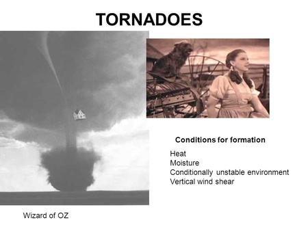 TORNADOES Wizard of OZ Conditions for formation Heat Moisture Conditionally unstable environment Vertical wind shear.