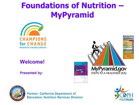 Foundations of Nutrition – MyPyramid Welcome! Presented by: Partner: California Department of Education, Nutrition Services Division.