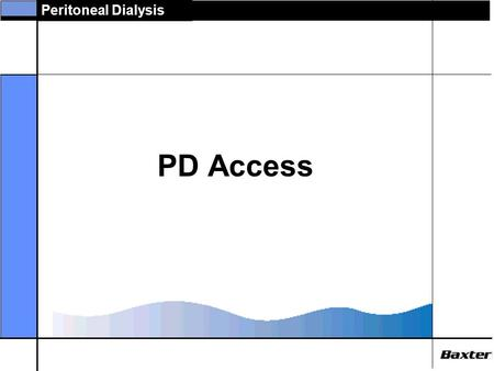 Peritoneal Dialysis PD Access. Peritoneal Dialysis Peritoneal Catheters  PD catheter is patients lifeline  Several advances have made access safer and.
