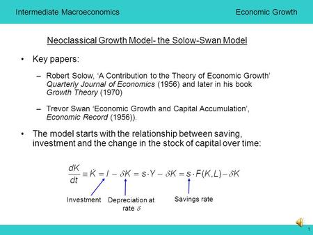 1 Neoclassical Growth Model- the Solow-Swan Model Key papers: –Robert Solow, 'A Contribution to the Theory of Economic Growth' Quarterly Journal of Economics.
