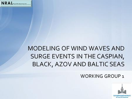 WORKING GROUP 1 MODELING OF WIND WAVES AND SURGE EVENTS IN THE CASPIAN, BLACK, AZOV AND BALTIC SEAS.