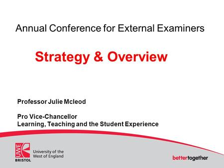 Professor Julie Mcleod Pro Vice-Chancellor Learning, Teaching and the Student Experience Annual Conference for External Examiners Strategy & Overview.
