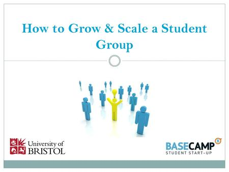 How to Grow & Scale a Student Group. Introductions Dave Jarman:  Head of Enterprise Education  Ex Careers Service & UBU  Ex Sabbatical Officer  Ex.