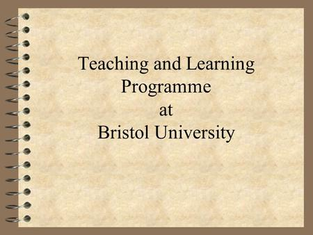 Teaching and Learning Programme at Bristol University.