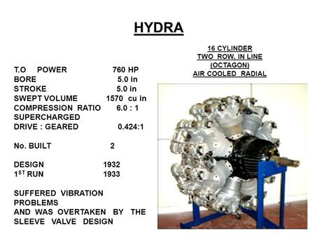 HYDRA 16 CYLINDER TWO ROW, IN LINE (OCTAGON) AIR COOLED RADIAL T.O POWER 760 HP BORE 5.0 in STROKE 5.0 in SWEPT VOLUME 1570 cu in COMPRESSION RATIO 6.0.