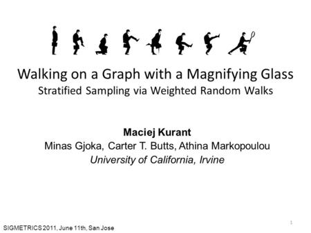 1 Walking on a Graph with a Magnifying Glass Stratified Sampling via Weighted Random Walks Maciej Kurant Minas Gjoka, Carter T. Butts, Athina Markopoulou.