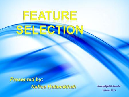 Feature Selection Presented by: Nafise Hatamikhah