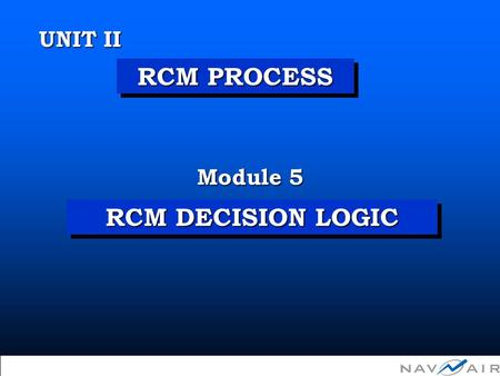 Copyright 2002, Information Spectrum, Inc. All Rights Reserved. RCM DECISION LOGIC Module 5 UNIT II RCM PROCESS.
