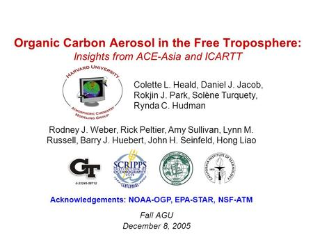 Organic Carbon Aerosol in the Free Troposphere: Insights from ACE-Asia and ICARTT Fall AGU December 8, 2005 Colette L. Heald, Daniel J. Jacob, Rokjin J.